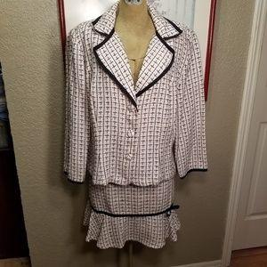 B. Smart 13/14 Pink, White, Black Plaid Tweed Suit